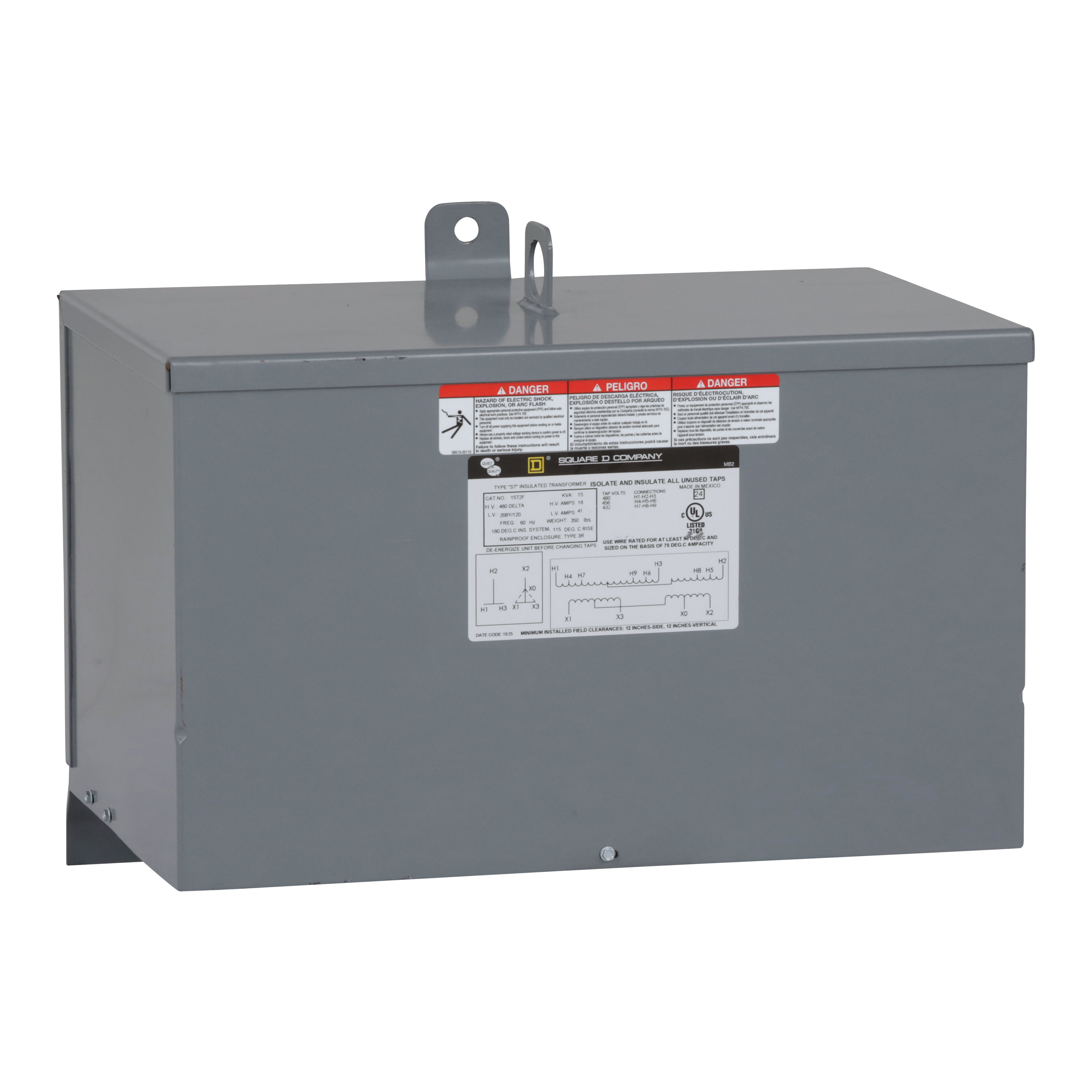 Square-D 15T2F 15 kVa 480 VAC Delta Primary 208 Star/120 VAC Secondary Dry Type General Purpose Transformer