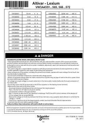Instruction sheet - Line choke 3-phase (VW3A4551-572)