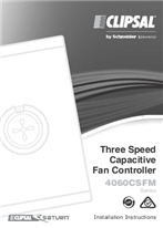 Instruction Sheet for 4060CSFM Series 3 Speed Capacitve Fan Controller