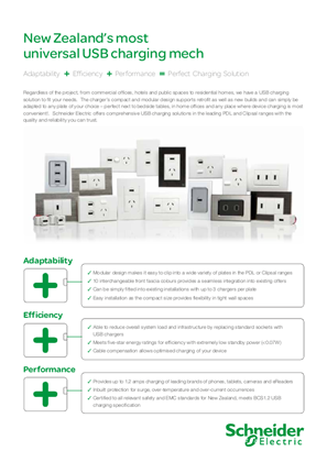 USB Charging Solutions - Flyer introducting the range of USB charging solutions