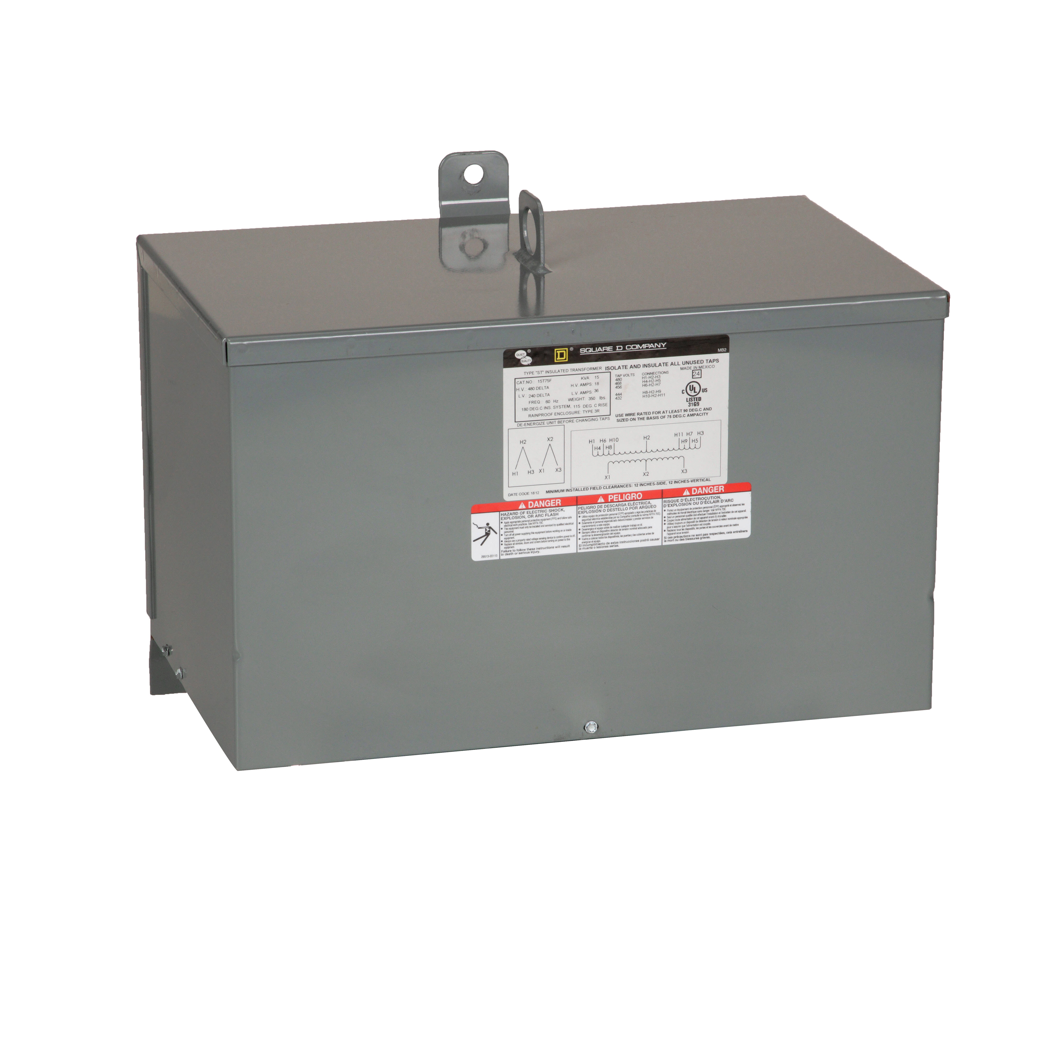 Square-D 15T2FSS 15 kVa 480 VAC Delta Primary 208 Star/120 VAC Secondary Dry Type General Purpose Transformer