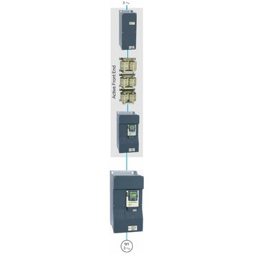 The AFE is connected upstream of the standard frequency inverter and consists of three components