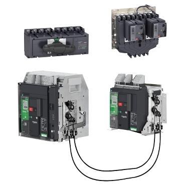 Source-changeover system for circuit breakers and switch disconnectors up to 6300 A