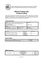 BACnet Certificate for C-Bus Automation Controller