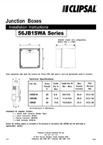 Installation Instructions - 56JB1SWA series junction boxes - F1505