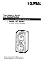 Installation and Operating Instructions - 56C3__RC Series Combination RCD and Socket Outlet - F1241