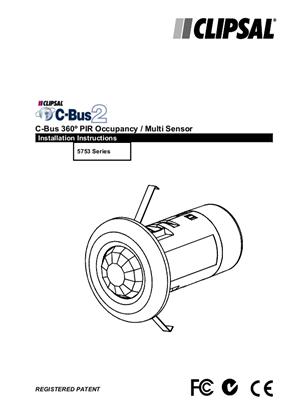 Installation Instructions - 5753L C-Bus2 360° PIR Occupancy Sensor - 1036308