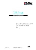General Instructions - C-Bus2 Manual Addendum V2.1.1, The DIN and PRO series, Version 211A