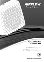 Installation Instructions - F1697/03 - 7105A, 7107A MaxAir Window Exhaust Fan, 18999