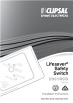 Installation Instructions - F2096/2 - 2031RCD Series Lifesaver Safety Switch, 16075