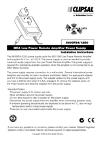 Installation Instructions - F2223 - C-Bus Multi Room Audio Low Power Remote Amplifier Power Supply.
