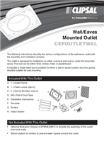Installation Instructions - F1970/01 - CEFOUTLETWAL Wall/Eaves Mounted Outlet, 20716