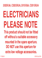 Installation Instructions - F1326/01 - Electricians Please Note, 21081
