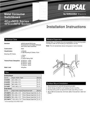Installation Instructions - F1975/02 - 4CxxMFD and 4FCxxMFD Series Metal Consumer Switchboard, 21368