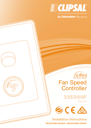 Installation Instructions - F1779/05 - 32E500F Series c-thru Fan Speed Controller, 21178