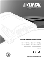 Installation Instructions - F1876/02 - L5101D20, LE5101TD20, L5102D10, LE5102TD10, L5104D5 and LE5104TD5 Series C-Bus Professional Dimmers, 20763