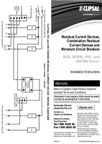 Installation Instructions - F2241/01 - RCD, RCBM, 4RC, and 4RCBM Series Residual Current Devices, Combination Residual Current Devices and Miniature Circuit Breakers, 20903