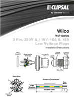 Installation Instructions - F1819/02 - Wilco WIP Series, 3 Pin, 250V, 110V, 10A & 15A Low Voltage Plugs, 22996