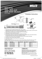 Installation Instructions - F1640/02 - 32A, 40A and 50A 500V Models, 4 and 5 Pin, WIPM Series, 22446