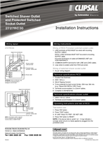 Installation Instructions - F584/02 - 2727RC30 Switched Shaver Outlet and Protected Switched Socket Outlet, 24122