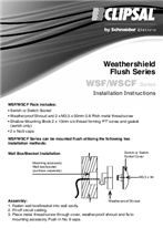 Installation Instructions - F1852/02 - WSF/WSCF Series Weathershield Flush Series, 25517