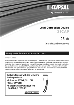 Installation Instructions - F1827/04 - 31CAP Load Correction Device, 25731
