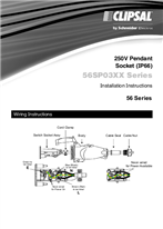 Installation Instructions - F1996/02 - 56SP03XX Series 250V Pendant Socket (IP66), 26837