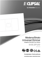 Installation Instructions - F2399/02 - 80E2PUD Series Modena/Strato Universal Dimmer, Integrally Switched, Push Button, 26763