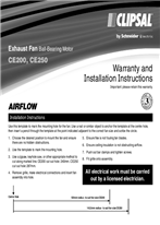 Installation Instructions - F1151/06 - CE200, CE250 Exhaust Fan Ball-Bearing Motor, 115303