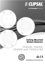 Installation Instructions - F2294/02 - 752/CD, 752/CP, 752/CU, 752/CU180 and 752/CD180 Ceiling-Mounted Motion Detector, 115461