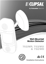 Installation Instructions - F2295/02 - 752/WP, 752/WU and 752/WD Wall-Mounted Motion Detector, 115462