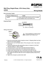 Installation Instructions - F0020/02 - 425HD Wall Plug, Single-Phase, 3-Pin Heavy Duty Wiring Details