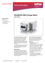 Product Data Sheet - 30USBCM USB Charger Mech 1.2A, 5V DC, 117651