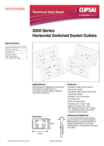 Product Data Sheet - 2000 Series Horizontal Switched Socket Outlets, 123603