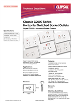 Product Data Sheet - Classic C2000 Series Horizontal Switched Socket Outlets, Clipsal C2000 – Horizontal Socket Outlets, 123603