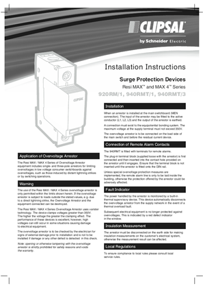 Installation Instructions - Surge Protection Devices Resi MAX and MAX 4 Series - 1400/05