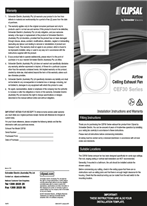 Installation Instructions - F2475 - CEF30 Series Airflow Ceiling Exhaust Fan, 214151