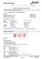 Safety Data Sheet - Clipsal PVC Cement N Blue