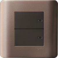 2 Gang 1 Way Full-Flat Press On/off Switch, Silver Bronze