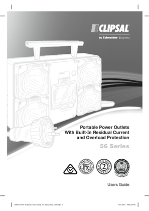 Installation Instructions - F2434/01 - 56 Series Portable Power Outlets With Built-In Residual Current and Overload Protection, 26966
