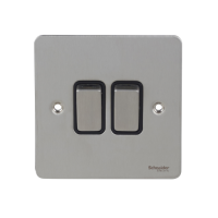 Ultimate Flat plate - 2-way plate switch - 2 gangs - stainless steel