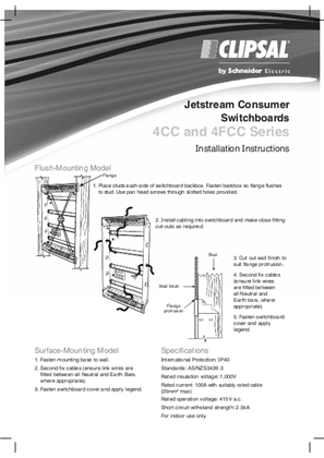 Installation Instructions - F1844/03 - 4CC and 4FCC Series Jetstream Consumer Switchboards, 24530