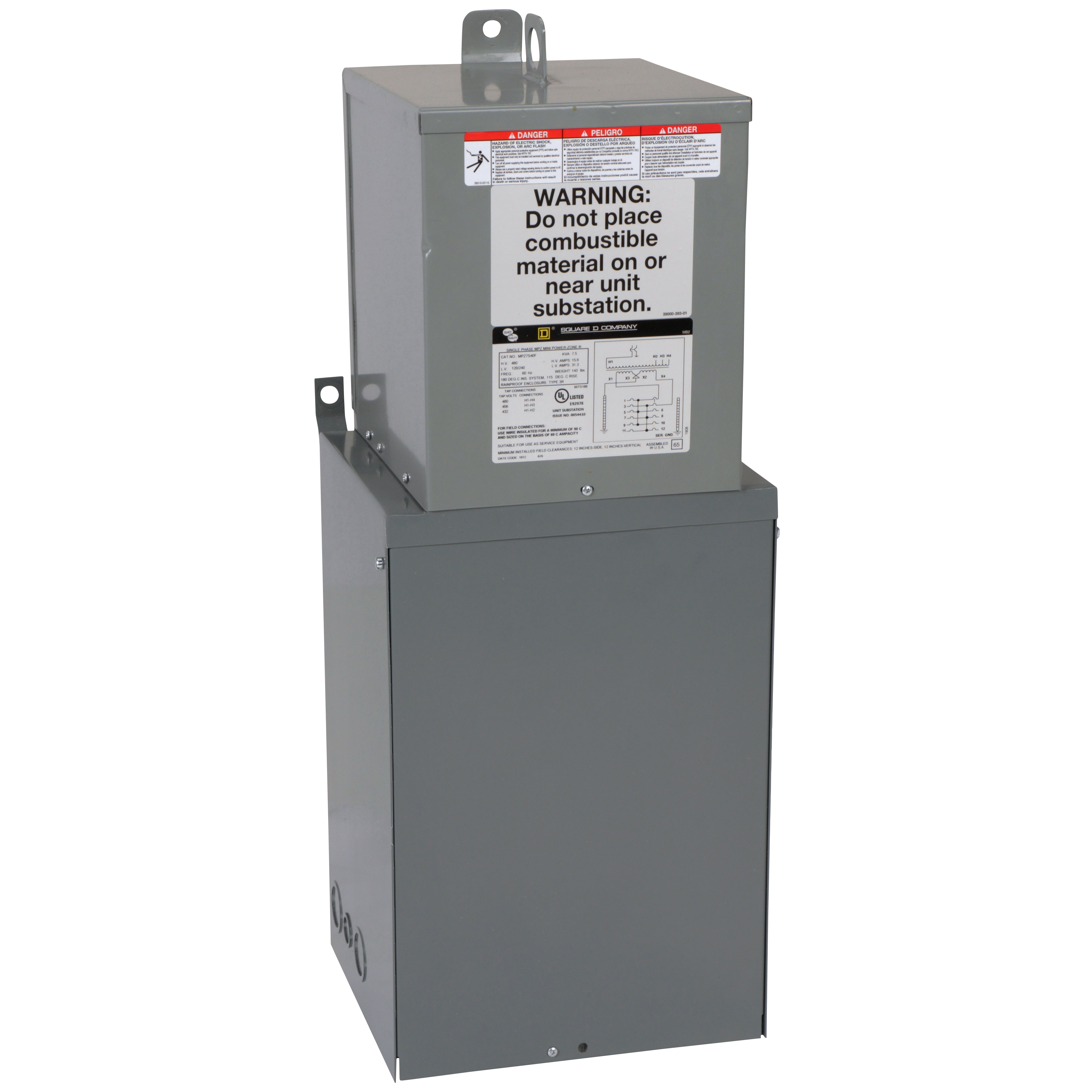 Square-D MPZ15S40F 480 Volt Primary 15 kVa 1-Phase 24-Circuit 24-Space NEMA 3R Mini Unit Substation