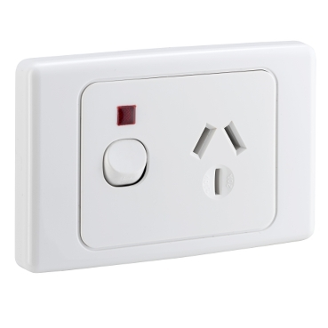 SOCKET SWITCHED SINGLE DOUBLE POLE 20A NEON