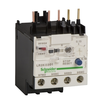 Thermal overload relay with manual or automatic reset from 0,11 to 16 A and 0,06 to 5,5 kW.