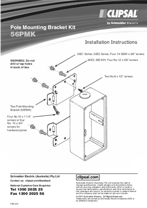 Installation Instructions - F951/03 - 56PMK Pole Mounting Bracket Kit