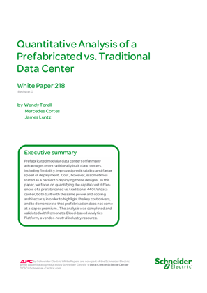 Quantitative Analysis of a Prefabricated vs. Traditional Data Center