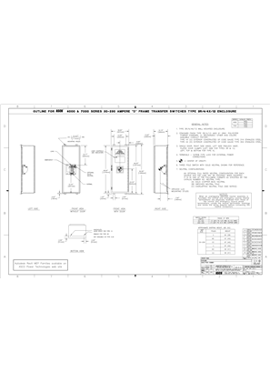 Outline Drawing | ASCO 4000/7000 SERIES Transfer Switch (ATS/NTS) | 30-230 Amps | Type 3R/4/4X/12 | Frame D | 719687-002