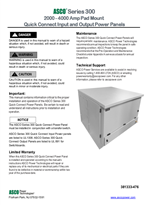 Installation Manual | ASCO SERIES 300 Quick Connect Power Panel (QC) | 2000-4000 Amps | 381333-476