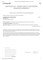 UL Certificate E345759 NMTR Power Circuit and Motor Mounted Apparatus